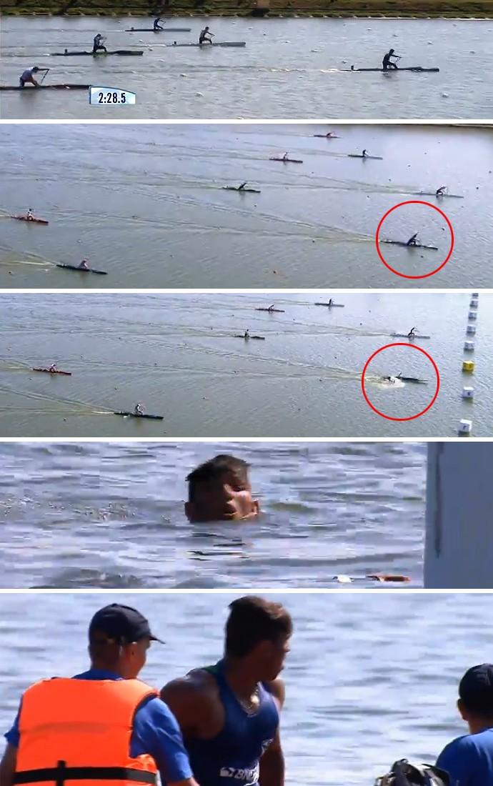 Após abrir mais de um barco de vantagem, Isaquias cai e deixa ouro escapar na final do C1 1000 (Foto: Reprodução)