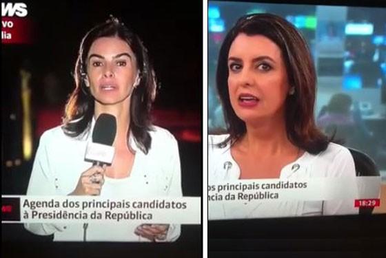"""Carla Lopes esteve envolvida em uma gafe com a repórter Fernanda Galvão, que disparou o """"você não me avisou, amor"""" ao ser questionada sobre agenda dos presidenciáveis"""