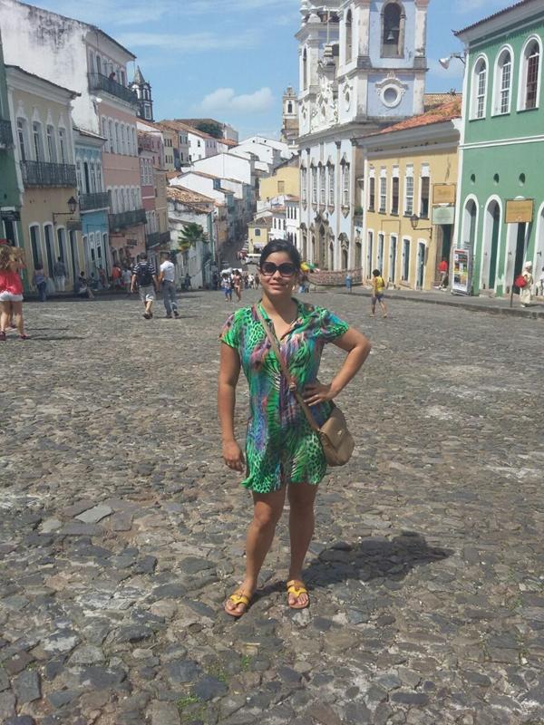 Rebecca no Pelourinho, om dos pontos mais visitados por turistas