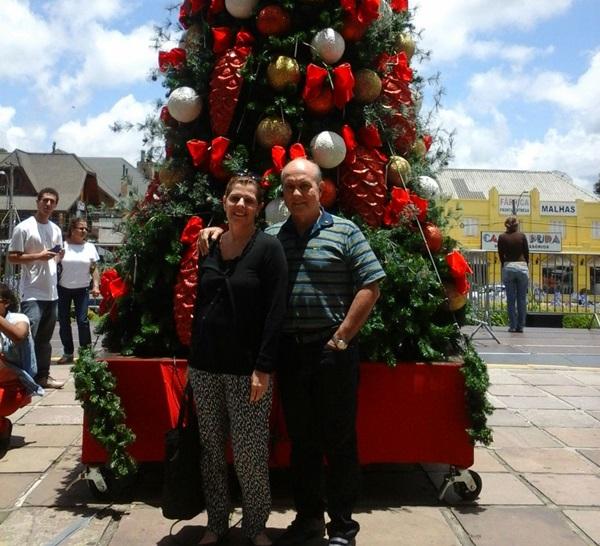 O casal aproveitou para curtir as belezas do lugar
