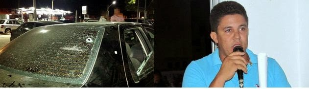 Uma das balas atingiu o encosto do banco do motorista e outro ficou alojado no painel do veículo