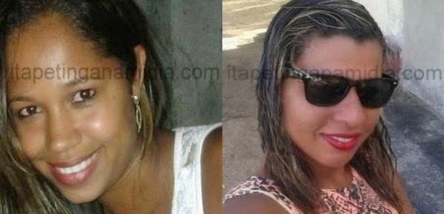 Thaiz dos Anjos de Jesus, de 21 anos (na foto, à esquerda), após assassinar a jovem Carla Silva Santos (à direita), de 22, na noite do último dia 13,