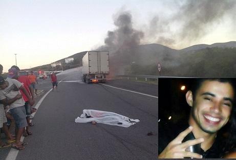 O Corpo do  jovem Danilo Silva Santos,  ficou estirado na pista