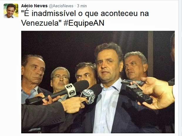 Twitter do senador Aécio Neves postou imagem da chegada do grupo na Base Aérea de Brasília  (Foto: Reprodução / Twitter / Aécio Neves)