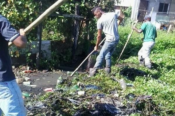 Os funcionários retiraram grande quantidade de plástico e outros objetos