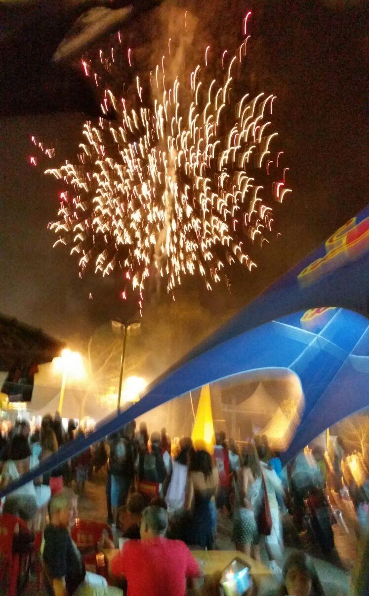 Fogos de artifícios durante a abertura (Foto Carlos Gama)