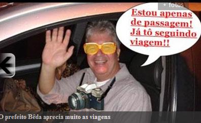 O prefeito Bêda Almeida passou todo mandato viajando