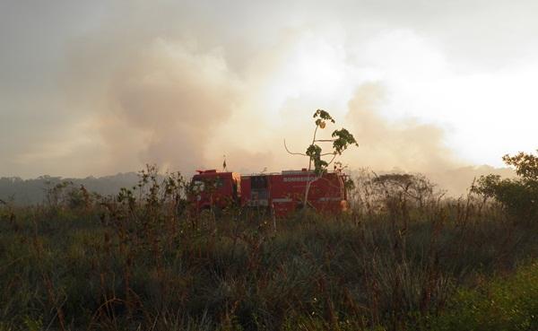 Uma guarnição do Corpo de Bombeiros e chegou  ao local para debelar o fogo
