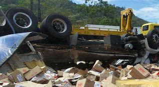 O caminhão carregado de produtos da Seara teve a carga saqueada