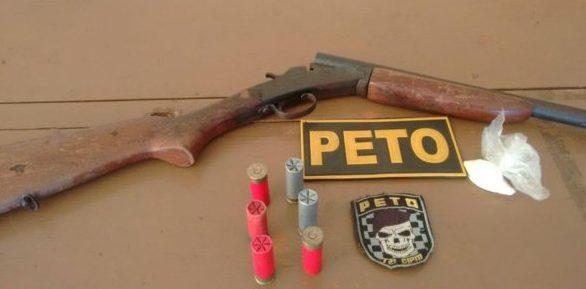 A arma foi recolhida pela PM
