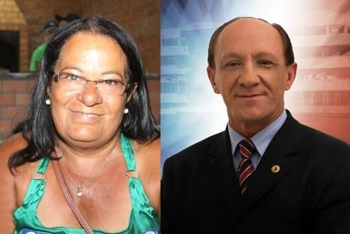 Deputado estadual Carlos Ubaldino de Santana , e a prefeita de Camamu, Emiliana Assunção Santos.