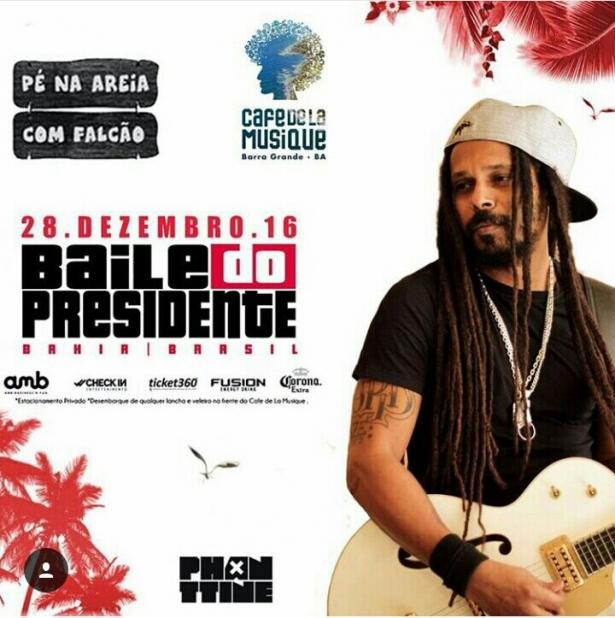 O vocalista Marcelo Falcão do Rappa será uma das atrações do de réveillon do Café de La Musique  de Barra Grande, na Península de Maraú, no Sul da Bahia.