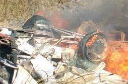 O veículo pegou fogo logo em seguida, provocando a morte do motorista,