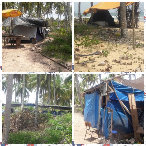O crime ambiental foi flagrado entre a lagoa azul e a praia do Cassange.
