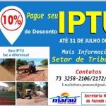 MARAÚ:  PREFEITURA OFERECE DESCONTO DE 10% NO IPTU  PARA PAGAMENTO EM COTA ÚNICA