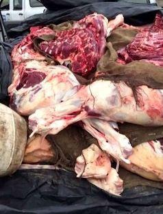 A Carne foi aprendida em poder  do comerciante de prenmeo Marcelo