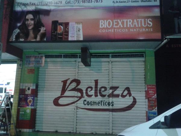 A loja  Beleza Cósméticos fica no centro da cidade